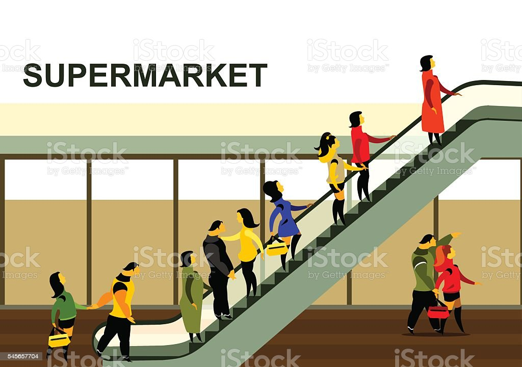 people rise on the escalator vector art illustration