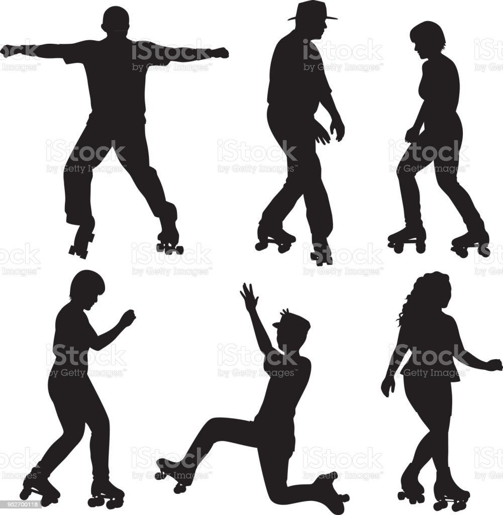 People Roller Skating Silhouettes vector art illustration