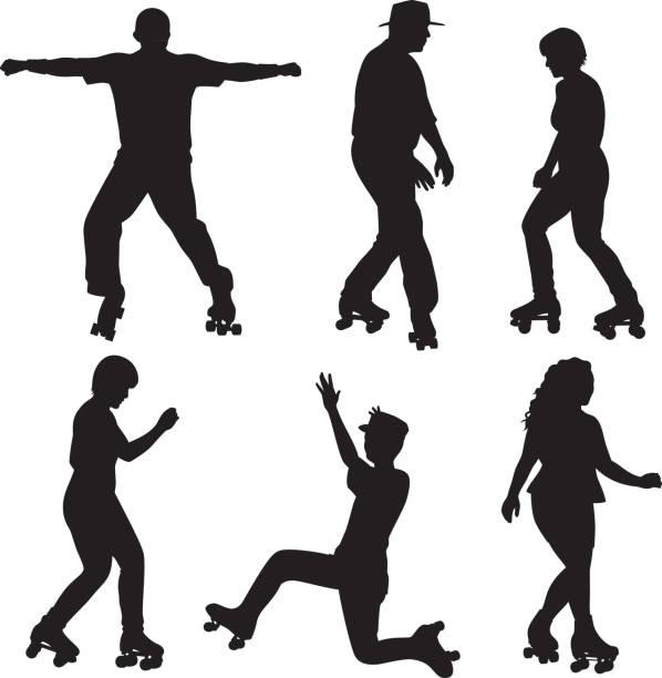 menschen-roller-skating-silhouetten - rollschuh stock-grafiken, -clipart, -cartoons und -symbole
