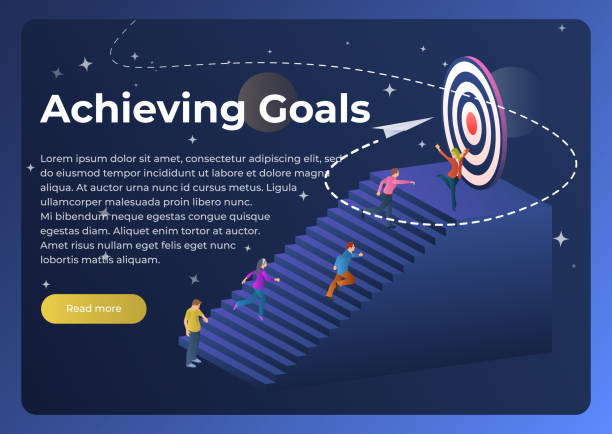 People run to their goal up the stairs. Vector illustration in flat 3d style. vector art illustration