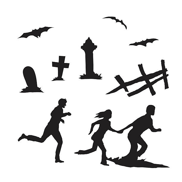 People running and other Halloween elements vector art illustration
