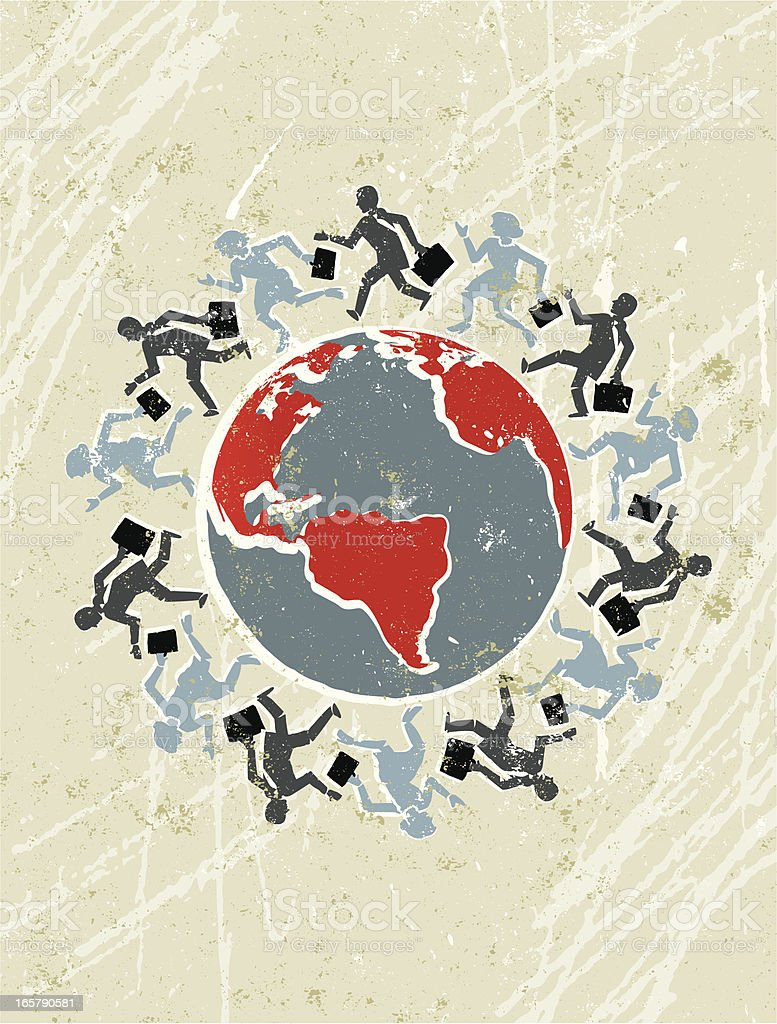 People Running Around A Globe royalty-free stock vector art