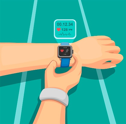 People Running at Jogging Track with wear Smartwatch, Sport Equipment with Health Information in Mobile Device. Concept in Cartoon Illustration Vector