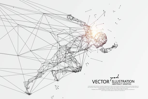 Menschen, die laufen brechen durch das Internet, Netzwerk-Verbindung verwandelt in, Vektor-Illustration. – Vektorgrafik