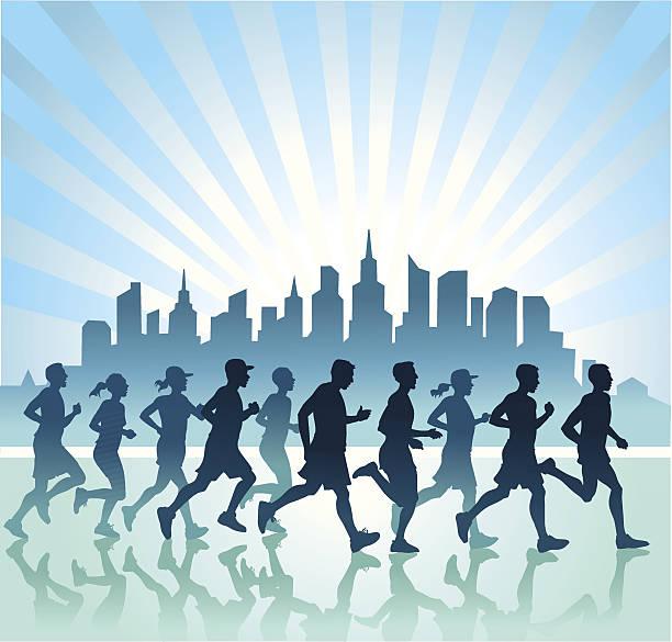 menschen laufen in der blauen zone - langstreckenlauf stock-grafiken, -clipart, -cartoons und -symbole