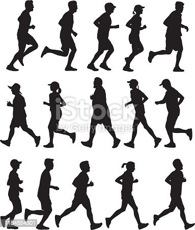 istock People Running Side View Silhouettes 1184554301