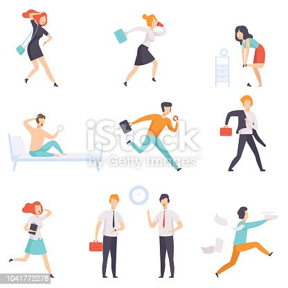 People running to work, businesspeople characters are late for work vector Illustration isolated on a white background.