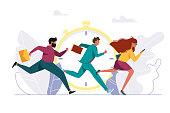 istock People rushing to work, running person. 1044848414