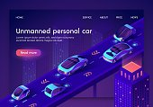Unmanned Personal Car Neon Banner. People Safe Driverless Artificial Intelligent Auto Transport System.Vehicles with Automated Radar GPS Detector, Modern Advanced Car. Isometric 3d Vector Illustration