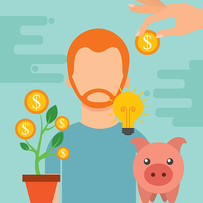 Mensen Geld Besparen Stockvectorkunst en meer beelden van Amerikaanse dollar