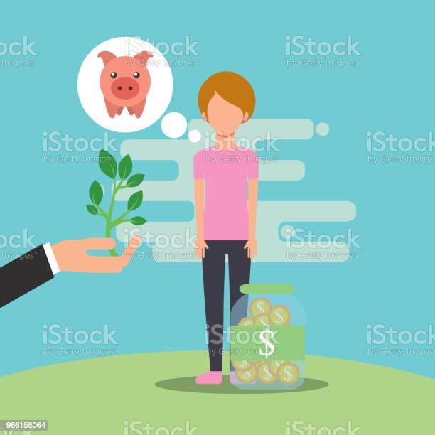 People Saving Money - Arte vetorial de stock e mais imagens de Adulto