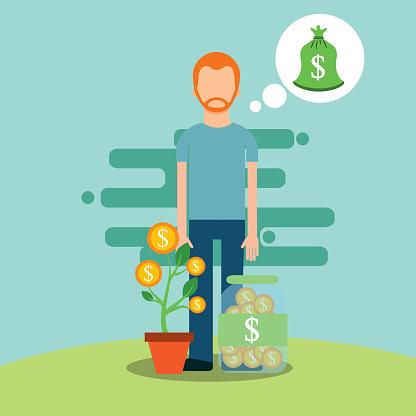 Mensen Geld Besparen Stockvectorkunst en meer beelden van Bank - Financieel gebouw