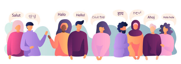 illustrazioni stock, clip art, cartoni animati e icone di tendenza di people say hi in different languages. flat vector style. vector illustration - spagnolo lingua