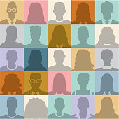 People abstract seamless background. People silhouette. Social