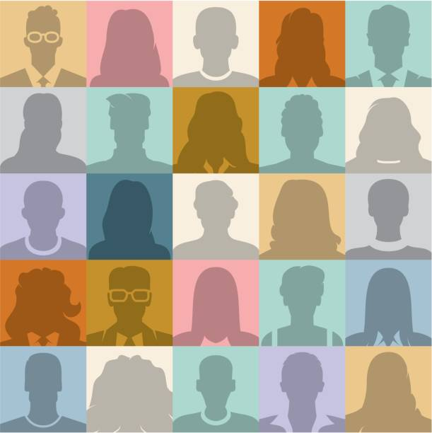 People seamless background. People abstract seamless background. People silhouette. Social place of work stock illustrations