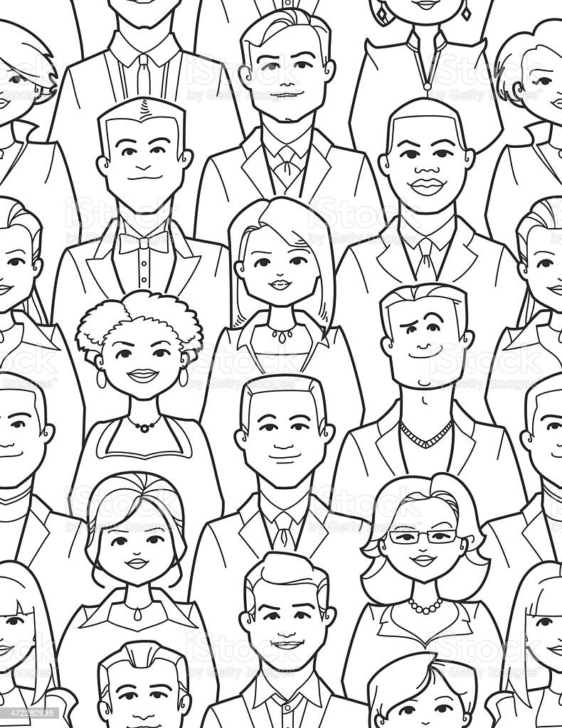 People - Seamless Composition vector art illustration