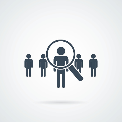 People Search Vector Iconabstract People Silhouette In Magnifier Shape Design Concept For Search For Employees And Job Stock Illustration - Download Image Now
