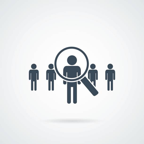 people Search vector icon.Abstract people silhouette in magnifier shape. Design concept for search for employees and job people Search vector icon.Abstract people silhouette in magnifier shape. Design concept for search for employees and job, business, human resource and professional headhunting, social network. candidate stock illustrations