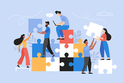 People searching for creative solutions. Teamwork business concept. Modern vector illustration of people connecting puzzle elements