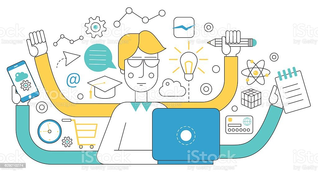 people self employment and different multitasking concept fast