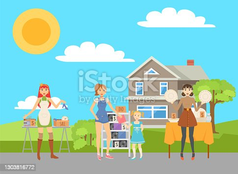 istock People Sell Used Items Garage Sale Concept Vector 1303816772