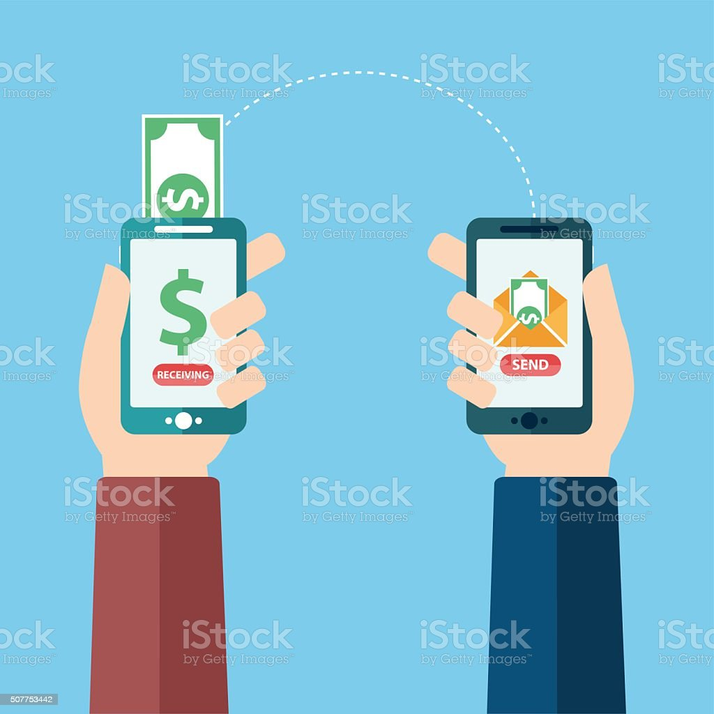 People sending and receiving money wireless with mobile phones vector art illustration