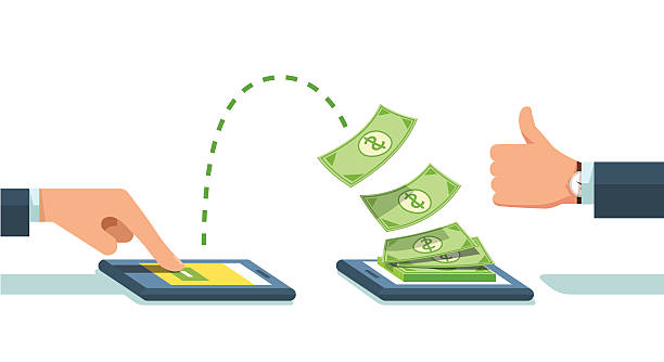 people sending and receiving money wirelessly - płacić stock illustrations