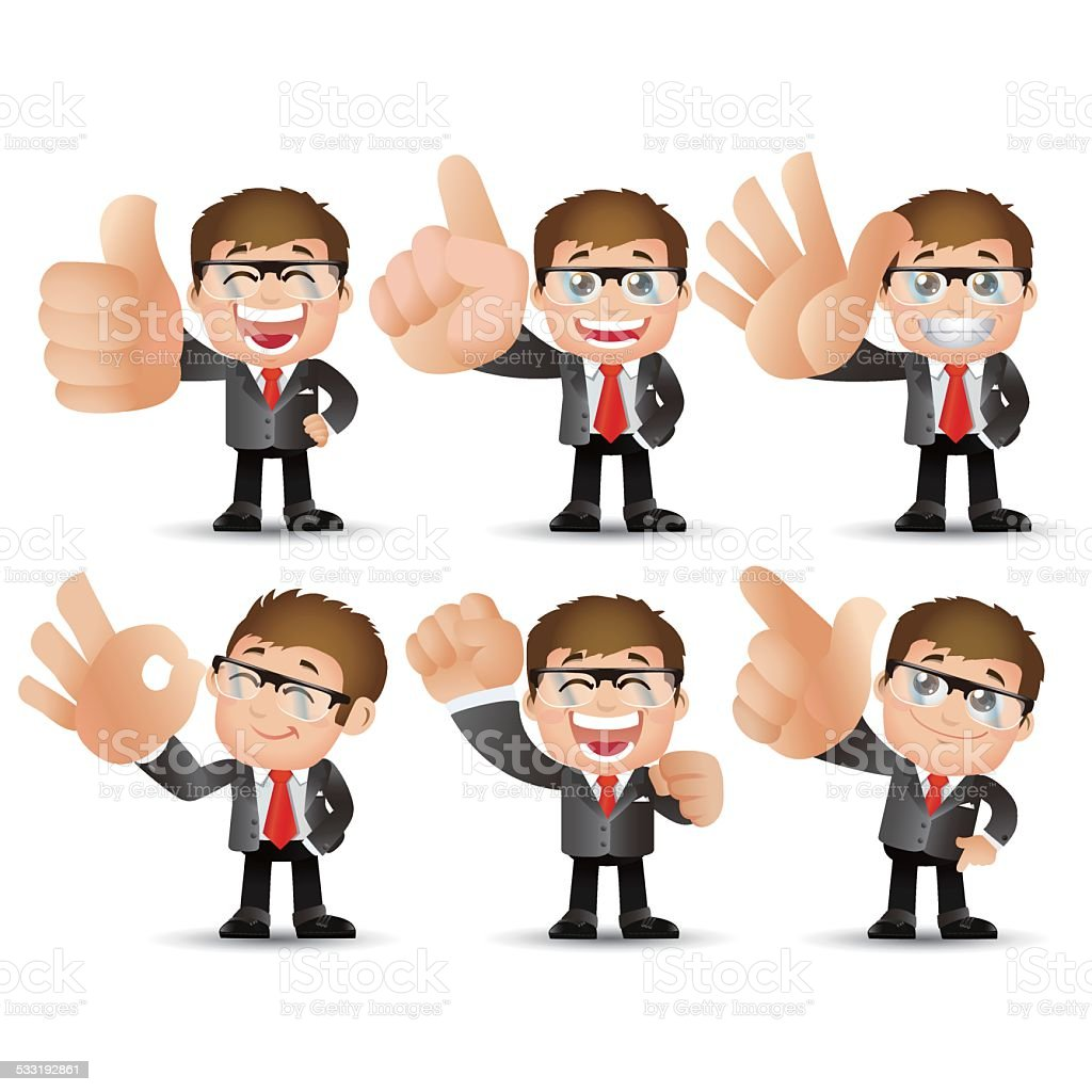 People Set - Business - Big hand. Businessman vector art illustration