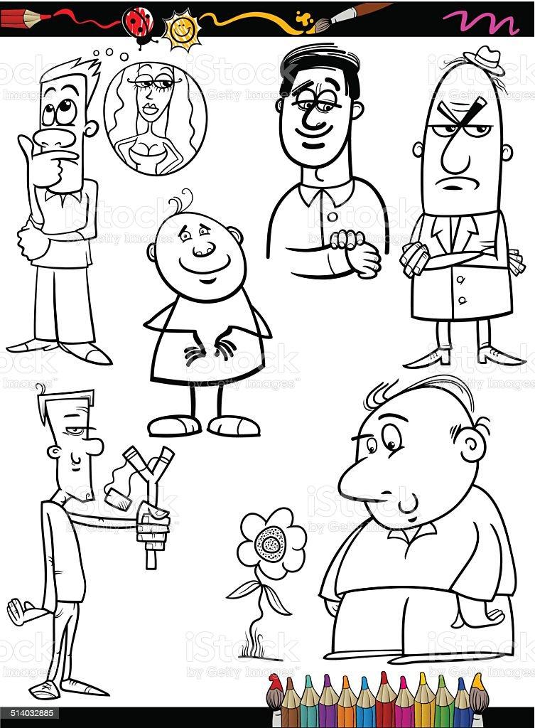 Ilustración de Conjunto De Dibujos Animados Personas Página Para ...