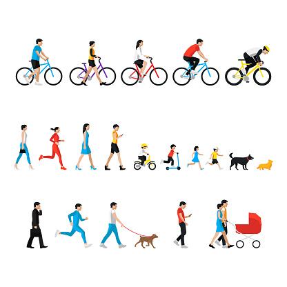 People set. Man, woman, children, boy, girl, dog. People in activity