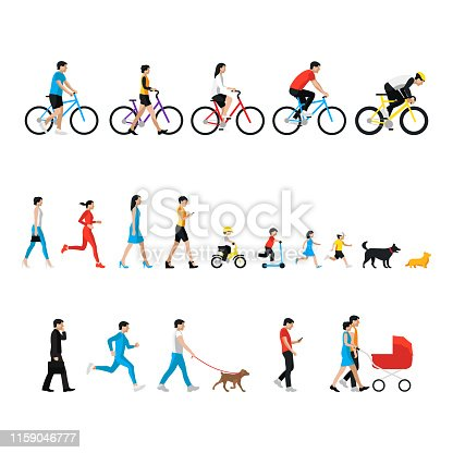People set. Man, woman, children, boy, girl, dog. People in activity, walking with dog, go for a walk, go to work, runnig people, ride a bike, looking at smartphone. Flat icon set isolated on white.