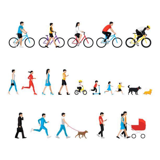 illustrazioni stock, clip art, cartoni animati e icone di tendenza di la gente si è impostata. uomo, donna, bambini, ragazzo, ragazza, cane. persone in attività - ciclismo