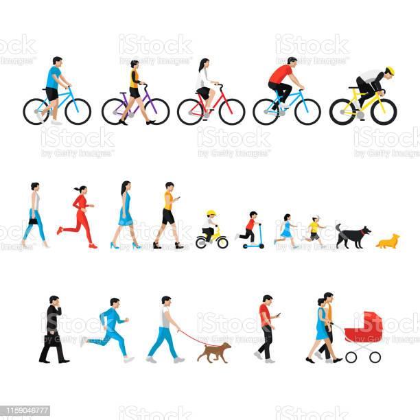 People Set Man Woman Children Boy Girl Dog People In Activity - Arte vetorial de stock e mais imagens de A usar um telefone