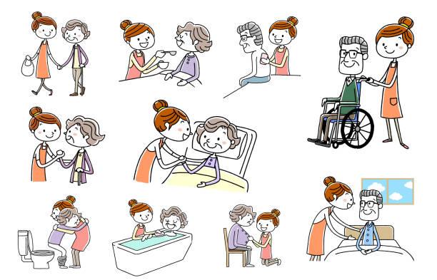 people set: nursing, senior, helper - проживание с уходом stock illustrations