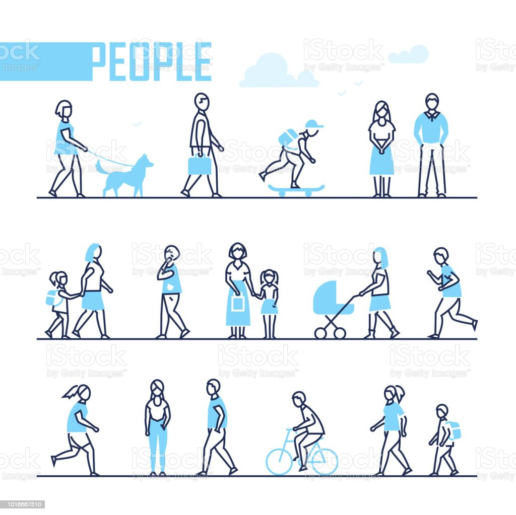 People - set of line design style characters royalty-free people set of line design style characters stock illustration - download image now
