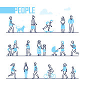 People - set of line design style characters isolated on white background. Active citizens run, jog, walk with a dog, cycle, go to work or school, speak on the phone. Children, workers, sportsmen