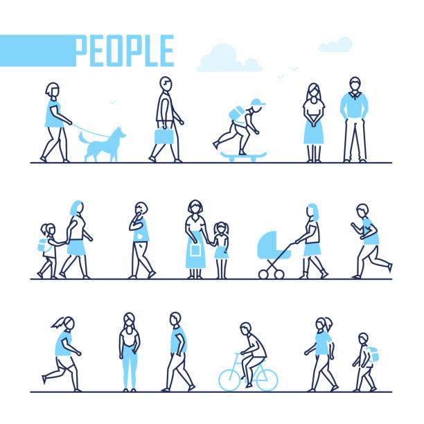 people - set of line design style characters - ходьба stock illustrations