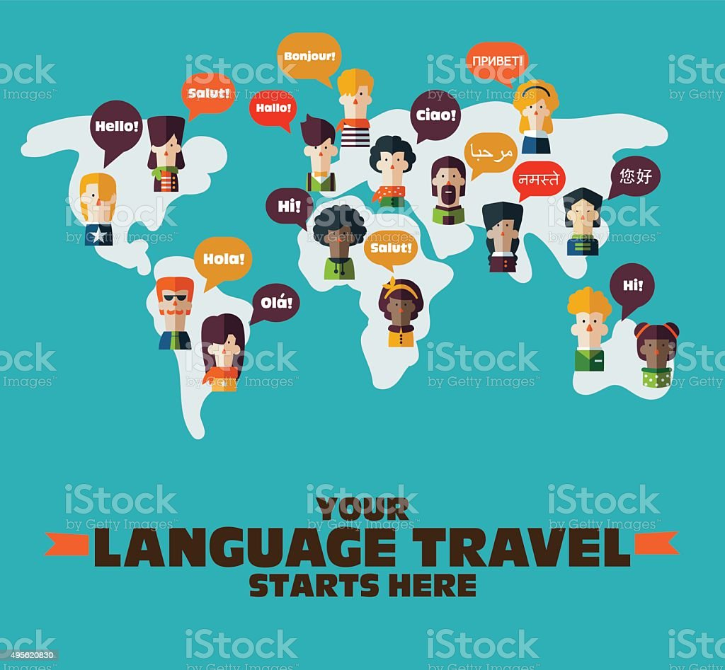 People set on World map. Speech bubbles in different languages vector art illustration