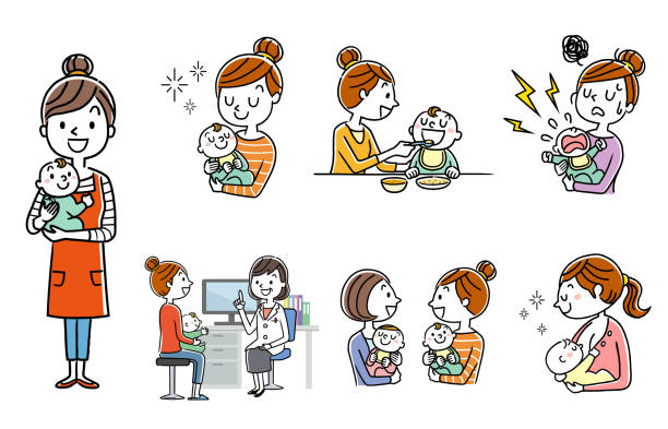 人セット:子育て、親子、ライフスタイル - ベビーフード点のイラスト素材/クリップアート素材/マンガ素材/アイコン素材