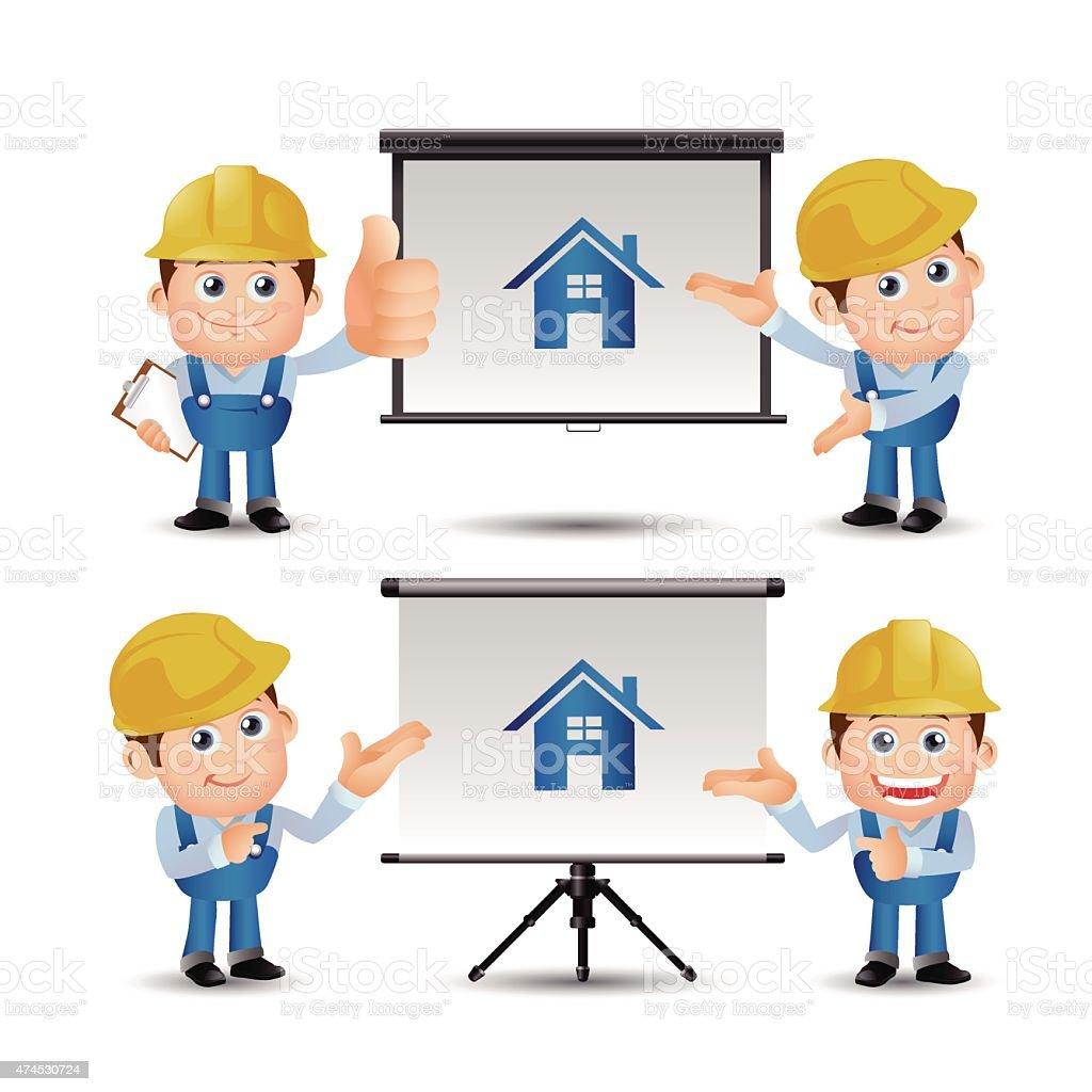 people set profession builder giving presentation stock vector art