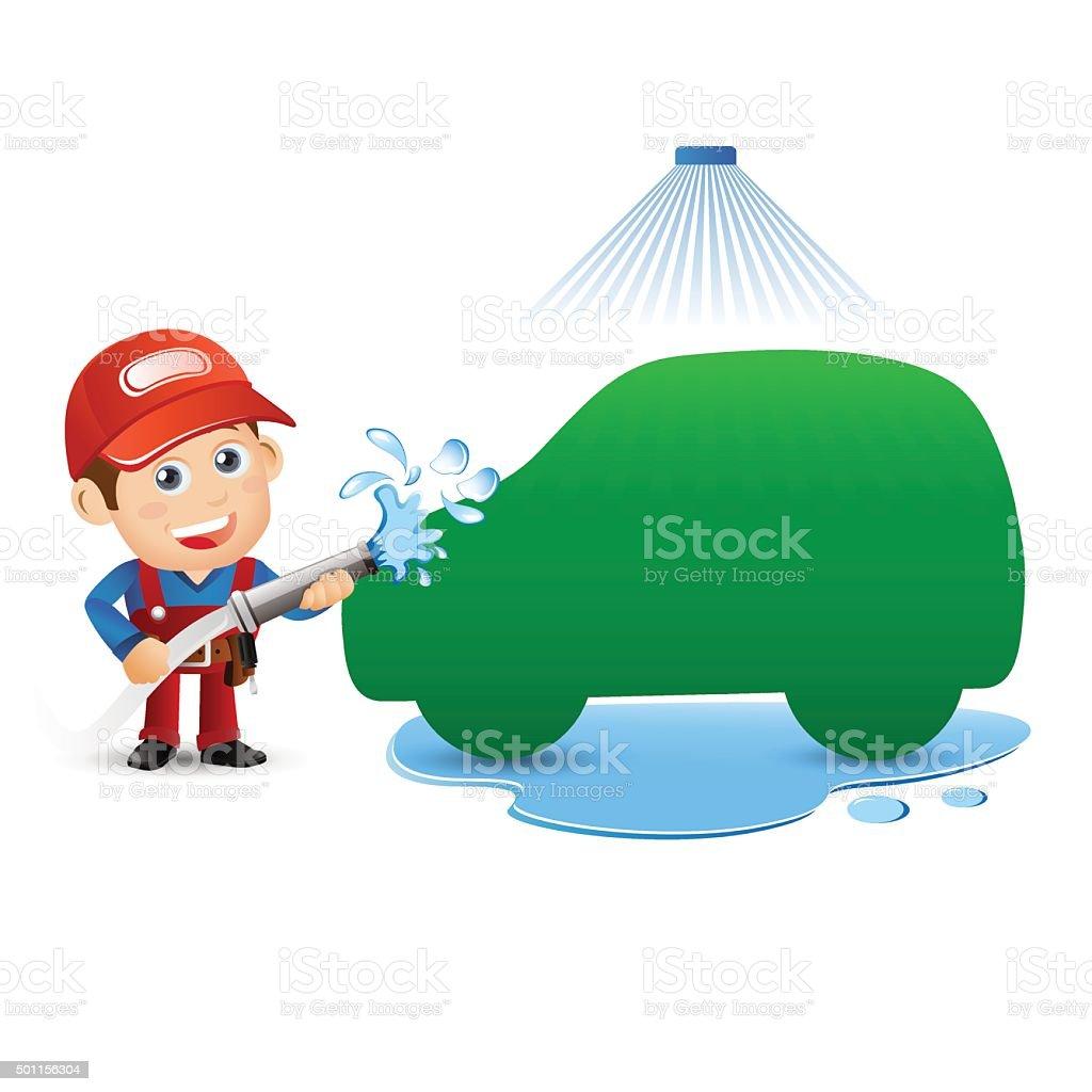 People Set - Profession - Mechanician set. Car wash specialist vector art illustration