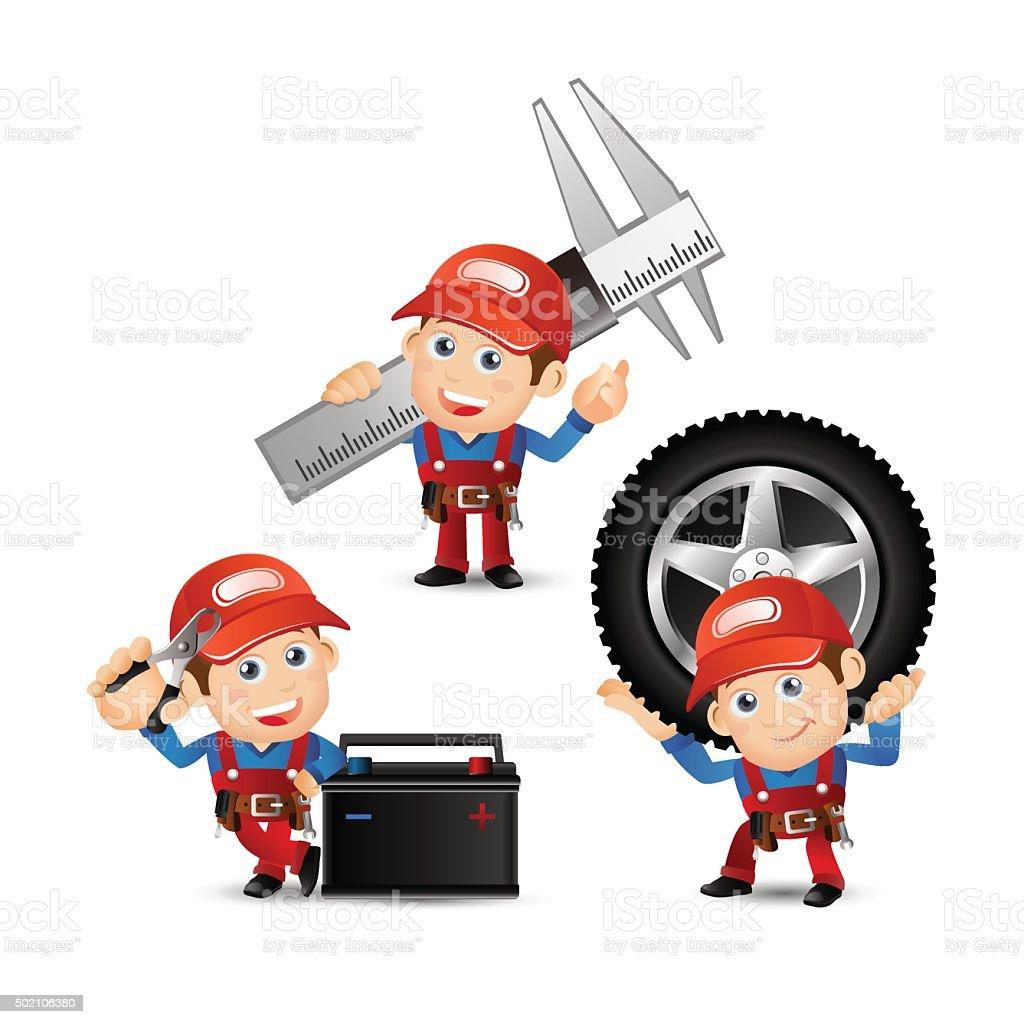 People Set - Profession - Mechanician set vector art illustration