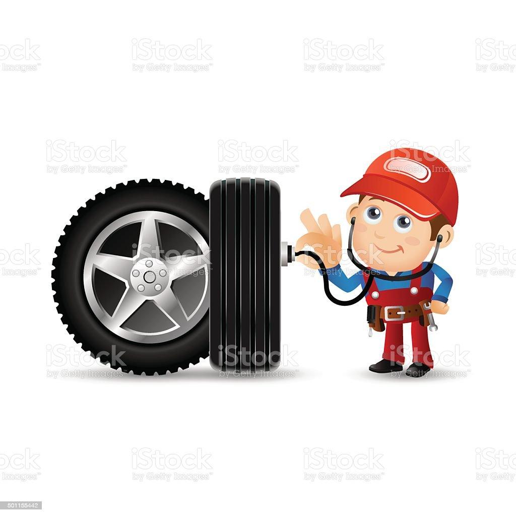 People Set - Profession - Mechanician vector art illustration