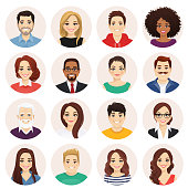Smiling people avatar set. Different men and women characters collection. Isolated vector illustration.