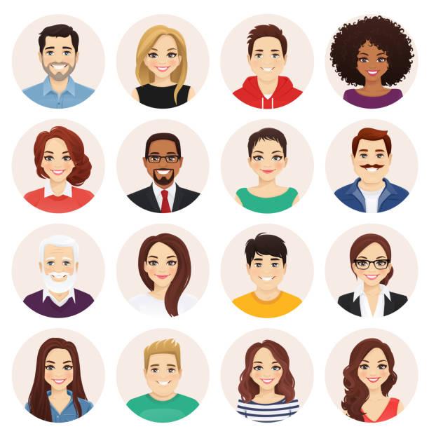illustrazioni stock, clip art, cartoni animati e icone di tendenza di set persone - man portrait