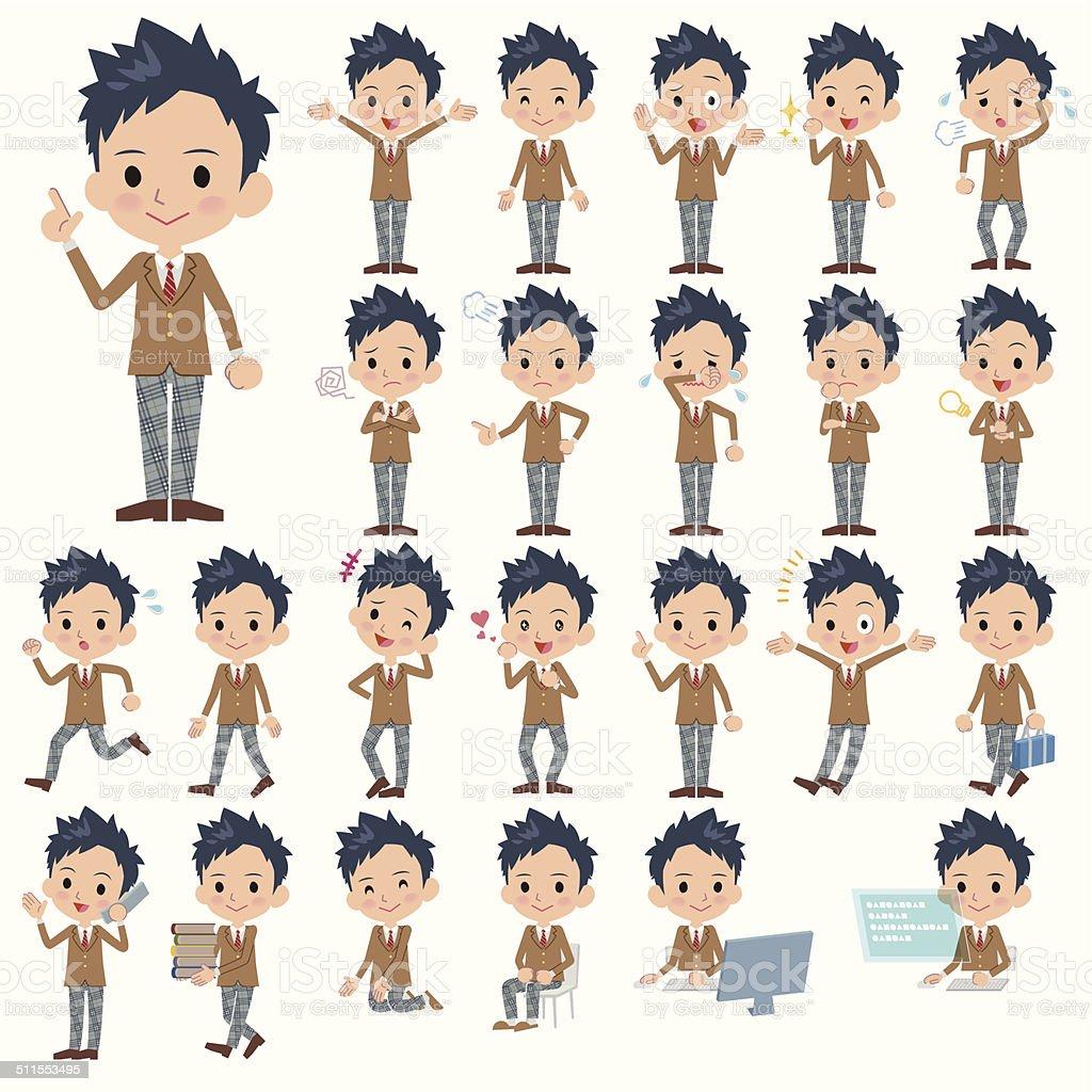 茶ブレザー男子学生全身動作 ベクターアートイラスト