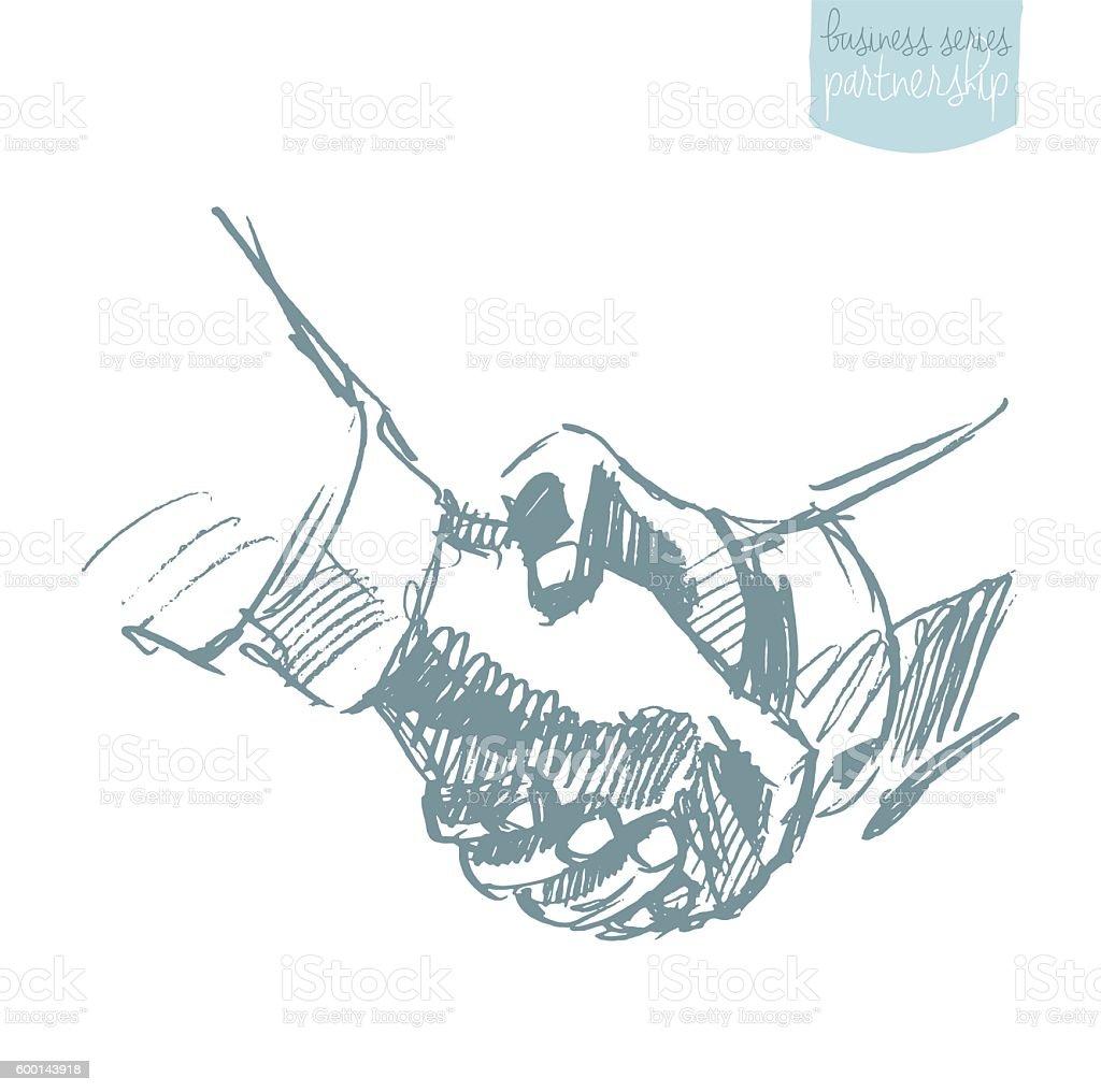 People shake hands partnership drawn vector sketch vector art illustration