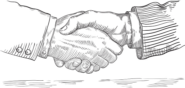 Vector of handshake of two businessmen  at retro engraving style.