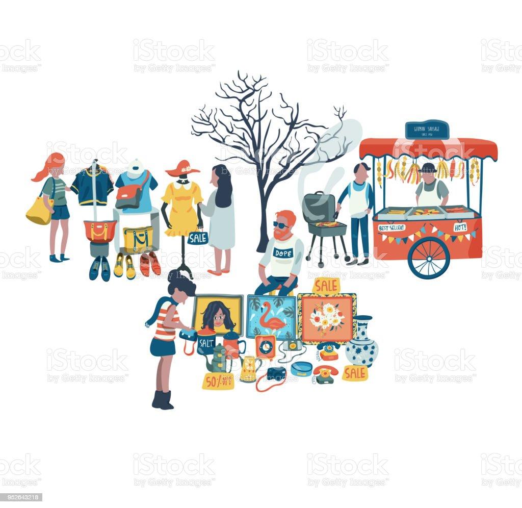 Às pessoas, comprar e vender roupas, segunda mão para animais e alimentos no mercado justo - ilustração de arte em vetor