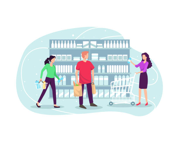 People shopping at supermarket and buying product Choosing products on the shelves and pushing carts or shopping baskets, Grocery shopping concept. Vector illustration in flat style grocery aisle stock illustrations